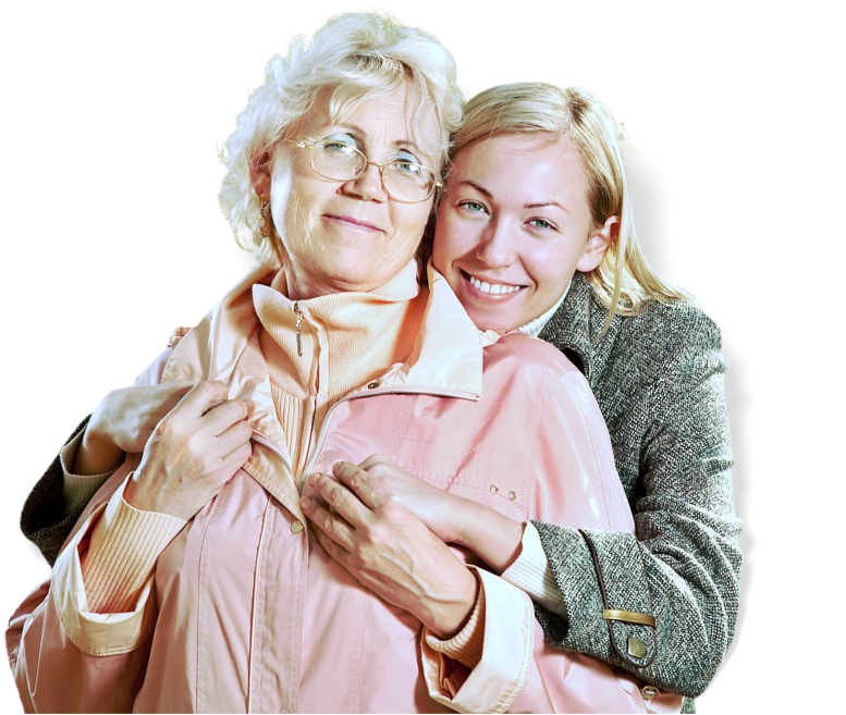 young lady hugging the old woman